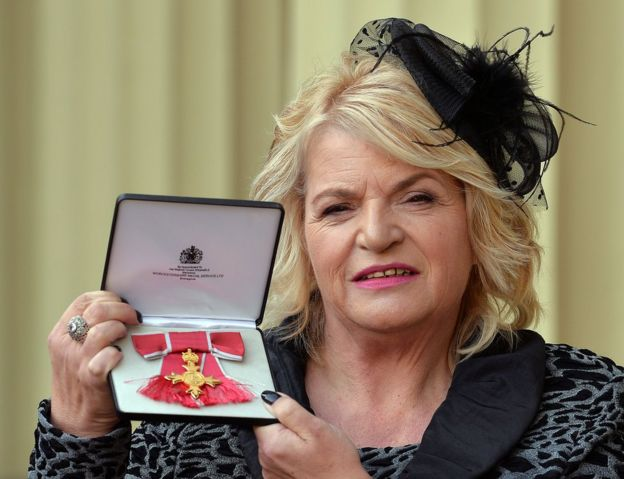 Sylvia Lancaster with her OBE