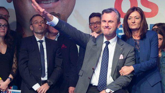 Norbert Hofer haciendo el saludo nazi