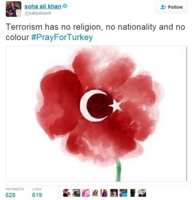 Tweet of poppy with Turkish flag