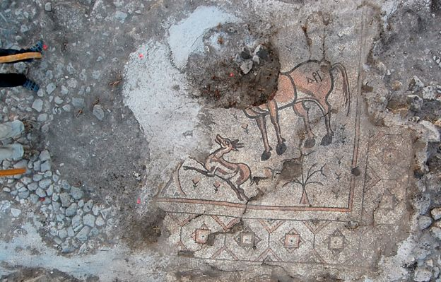 Mosaic of horse and gazelle
