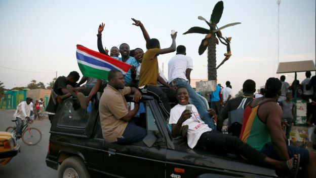 Gambians gather at Westfield junction to celebrate the swearing-in of Gambia