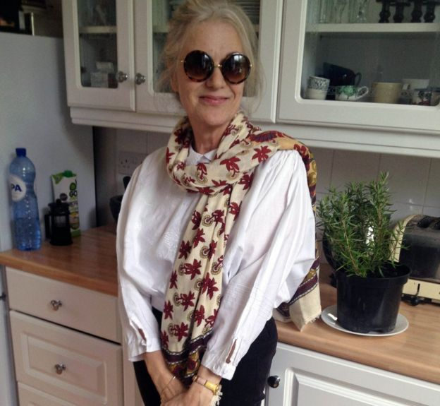 Rosemary Dicker, wearing the bracelet six months before her death on Mother's Day 2015