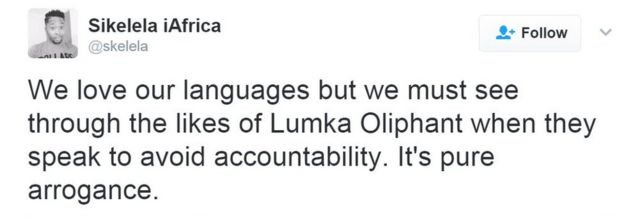 We love our languages but we must see through the likes of Lumka Oliphant when they speak to avoid accountability. It's pure arrogance.