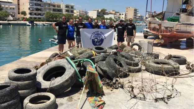 NARC and Greek divers with their haul of marine litter