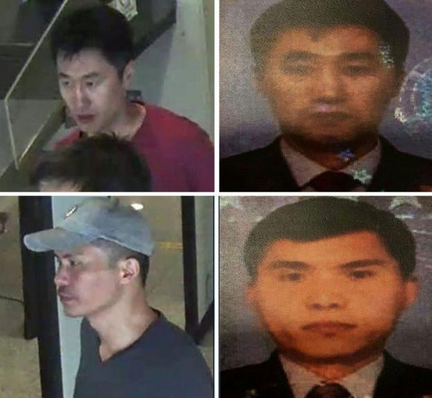 馬來西亞警方公布的照片,顯示兩名嫌疑人