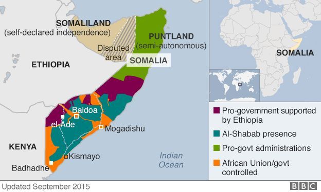 Map of Somalia - updated September 2015