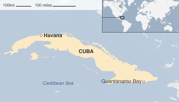 Map of where Guantanamo bay is