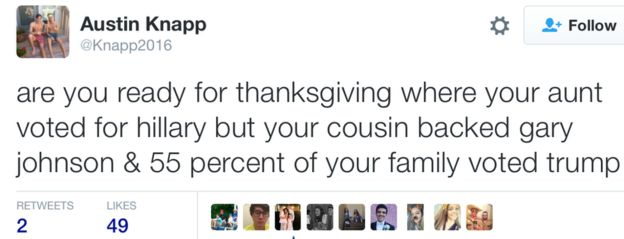 Tweet: are you ready for thanksgiving where your aunt voted for hillary but your cousin backed gary johnson & 55 percent of your family voted trump