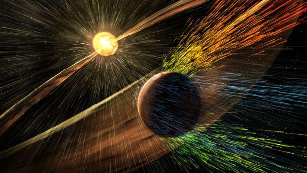 Ilustración de Marte recibiendo vientos solares