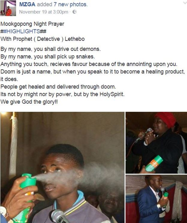 A Facebook post containing pictures of a pastor spraying an insecticide on church members.