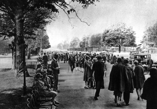 Pedestrians on the Avenue Foch, 1930s Paris