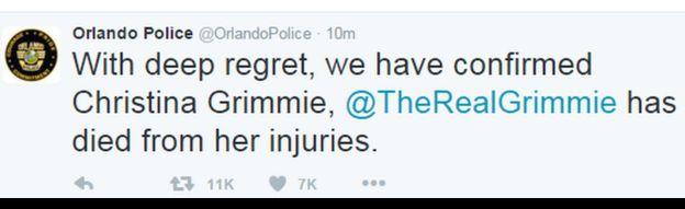 Orlando police's tweet