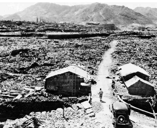 The aftermath of an atomic bomb in Nagasaki