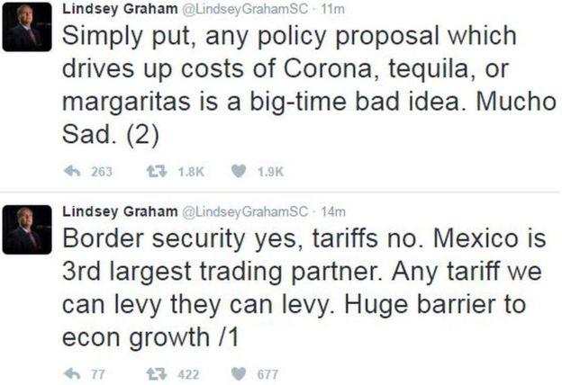 美国共和党参议员格莱厄姆在社交媒体推特上警告说,实施边境税将对美国消费者带来很大影响。