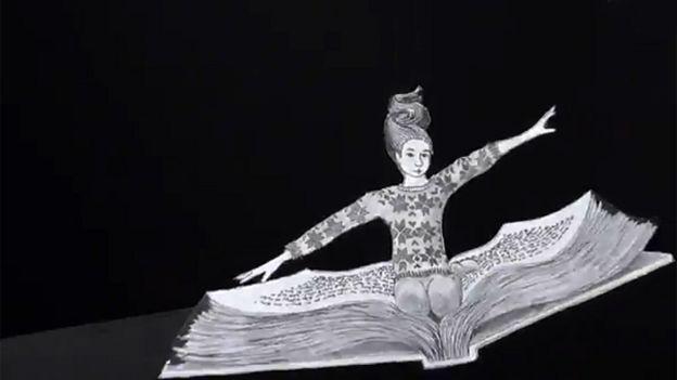 Chica sobre un libro volando