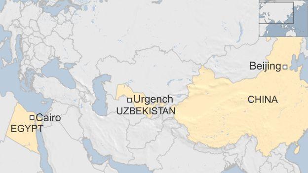 Map showing location of Urgench, Uzbekistan