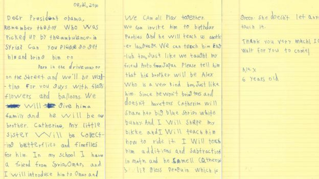 A copy of the letter written by Alex
