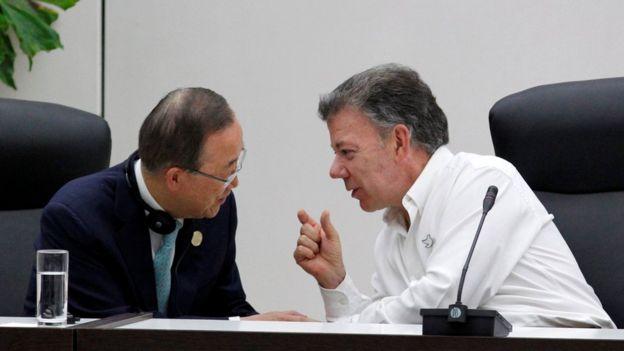 Ban Ki-moon y Juan Manuel Santos.