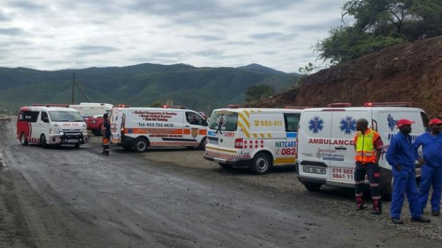 Rescue vehicles stand by at the scene of the Lily mine collapse near Barberton