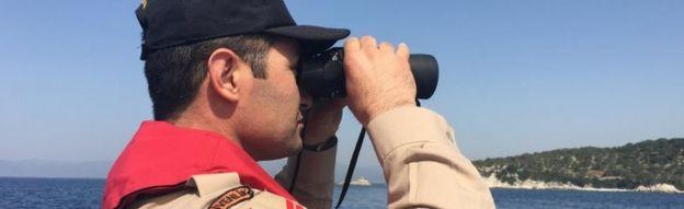 Turkish coast guard in patrol