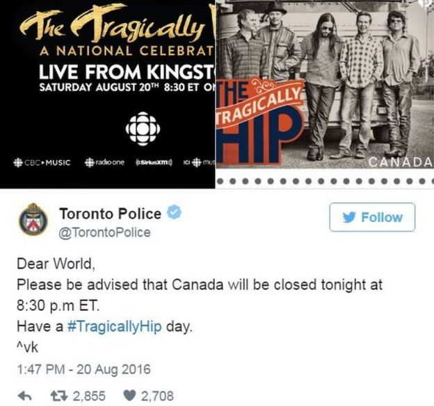 Dear World, please be advised that Canada will be closed tonight - have a tragically hip day
