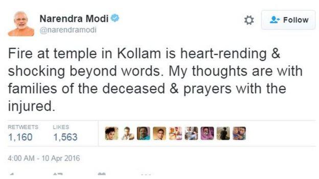 Indian PM Narendra Modi's tweet about Kerala explosion 10 April 2015