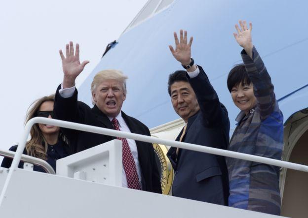 Trump y Abe viajaron a Florida para pasar el fin de semana.