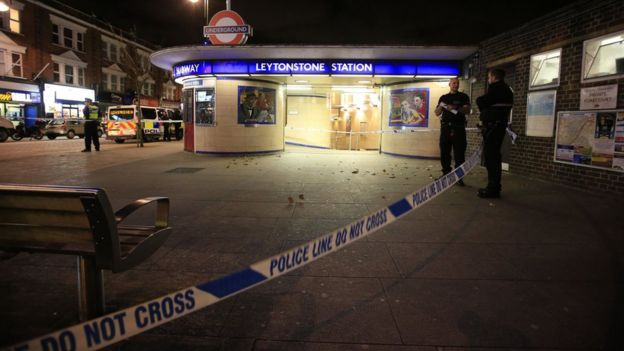 Police cordon outside Leytonstone Station