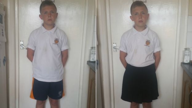 Michael Parker in school PE shorts (left) and school skirt (right)