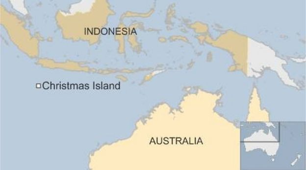 Map of Australia and Indonesia highlighting Christmas Island - November 2015