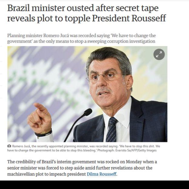 Reprodução de reportagem do Guardian