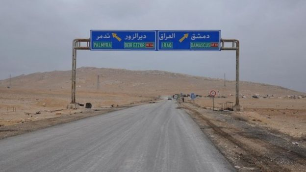 A road sign that shows the direction to the Syrian city of Palmyra (02 March 2017)
