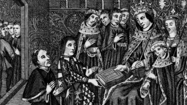 William Caxton presents a book, printed in 1477, to King Edward IV and the Queen and Prince Edward of Westminster