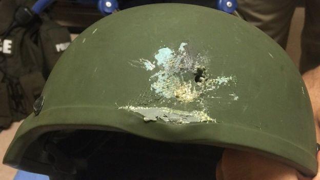 Kevlar helmet worn by law enforcer