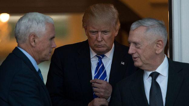 Trump, Pence y Mattis