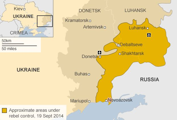 AREAS OF PRO-RUSSIAN REBELS CONTROL IN EASTERN UKRAINE