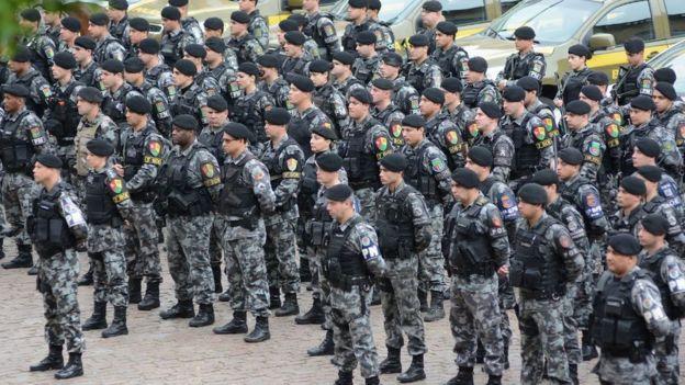 Policiais Militares do RS em apresentação de nova etapa do Plano Estratégico de Segurança Pública, em junho