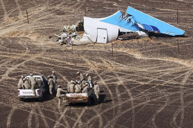 Russian jet wreckage in the Sinai Desert, Egypt, 1 November 2015