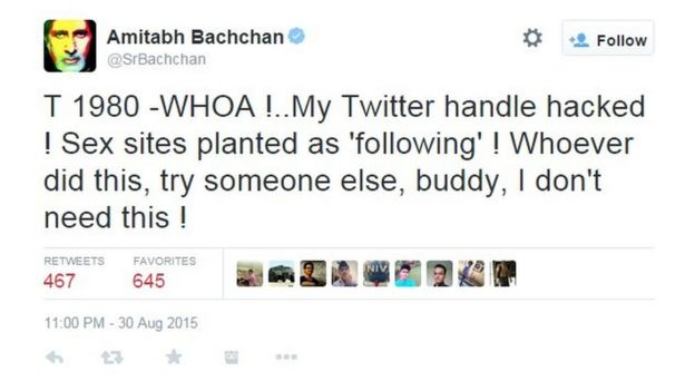 Image result for amitabh bachchan twitter hacked