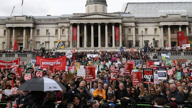 Thousands gathered at Trafalgar Square