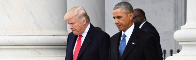 Donald Trump and Barack Obama, 20 Januari