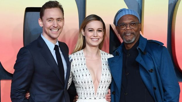 Tom Hiddleston, Brie Larson and Samuel L Jackson