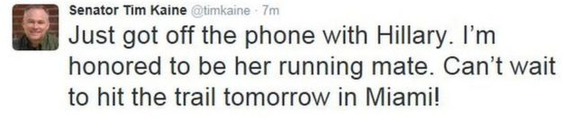 Tim Kaine's tweet after being chosen as Hillary Clinton's running mate