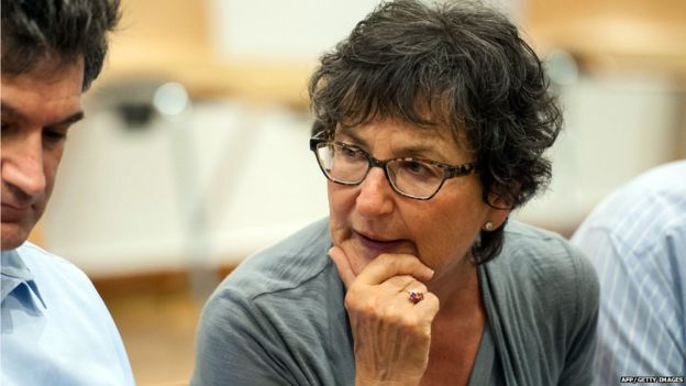Joint plaintiff Judith Kalman is pictured at the courtroom in Lueneburg on July 2, 2015, for the continuation of the trial of German former SS officer Oskar Groening