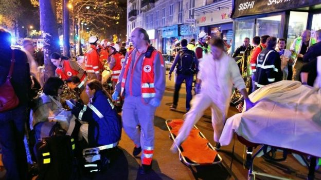 Eighty people were reported killed after gunmen burst into the Bataclan concert hall and took dozens hostage