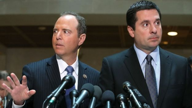 House Intelligence Committee Chairman Devin Nunes (R-CA) (R), and ranking member Rep. Adam Schiff (D-CA)