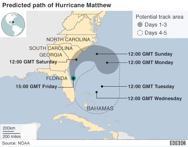 Map Usa Hurricane Matthew A map showing Hurricane Matthew's path