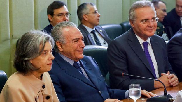 Cármen Lúcia, Michel Temer e Renan Calheiros