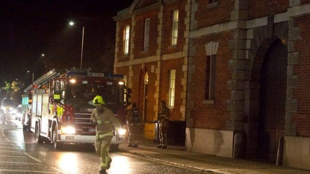 HMP Bedford with a fire engine outside