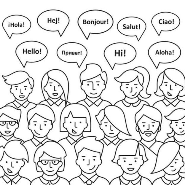 Dibujo de la palabra hola en varios idiomas.